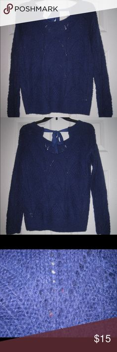 """NWT - LC Blue Sparkle Sweater  with Tie in Back 🎀 Adorable scoop neck blue sweater with metallic blue thread weaved throughout and a ribbon that ties in the back. Measures 19"""" across laying flat and 24"""" from top to bottom. LC Lauren Conrad Sweaters Crew & Scoop Necks"""
