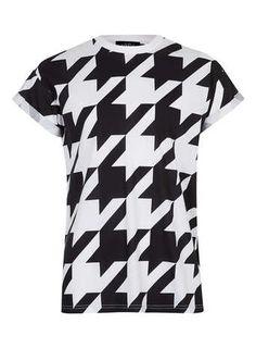 BLACK HOUNDSTOOTH T-SHIRT - Men's T-Shirts & Vests  - Clothing