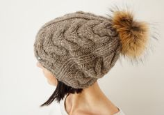 Hand Knit Soft Soft Yak Wool blend Women Hat / Brown / by Imunde
