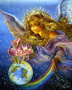 Hope Springs Eternal    An angel's loving hand directs a rainbow of hope towards a fertile and beautiful earth, and like a bulb in spring life bursts forth – another gem in the vast garden of the universe.        Josephine