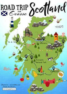 Scotland Map, England And Scotland, Scotland Travel, Scotland Vacation, Scotland Road Trip, Places To Visit Uk, Places To Travel, Inverness, Road Trip Destinations