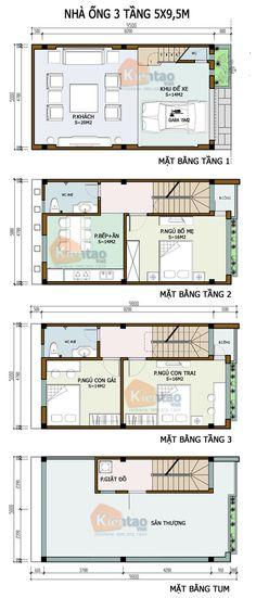 Thiết kế kiến trúc, Nhà ống 3 tầng 5x9,5m, Cách phân bổ công năng nhà ống 3 tầng 5x9,5m, nhà đẹp