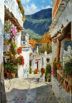 Título: Calle de Mecinilla (Alpujarra). Técnica: Óleo sobre lienzo. Tamaño: 92x65 cm. Precio: Vendido.