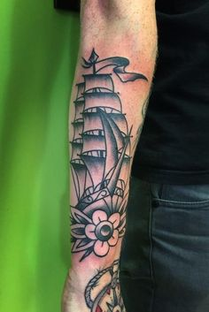 black old school ship by Rique Corner! Solid Heart Tattoo Viersen! #oldschool #ship #boat
