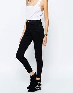Image 1 of ASOS Ridley High Waist Skinny Jeans in Clean Black