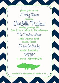 Crocodile Baby Shower Invitation  You Print  4x6 by justmeprints, $11.00