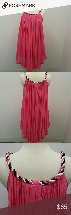 Hot pink lined gauze sun dress Hot pink gauze sun dress with black, white and pink corded trim at the neckline. kaktus sportswear Dresses Midi