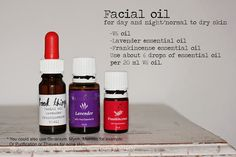 Facial oil with Young Living Essential Oils. You could also add a few drops of vitamin E (especially during wintertime). Gezichtsolie met Young Living Essential Oils. Je kunt eventueel ook nog een paar druppels vitamine E toevoegen (vooral in de winter).
