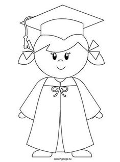 Coloring Page Template for a Graduation Theme from Making