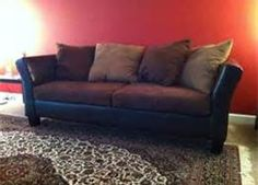Sectional Sofa brown suede couch with black leather