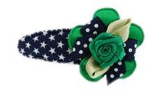 DIY Hairclip navy stars with green ribbon rose.  Haarspeldje donker blauwe sterren met groen roosje  www.haarspeldjes-fabriek.nl