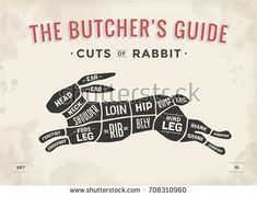 Cut of meat set. Poster Butcher diagram, scheme – Rabbit Cut of meat set. Meat Butcher, Butcher Shop, Meat Restaurant, Restaurant Ideas, Meat Rabbits, Meat Loaf Recipe Easy, Meat Markets, Best Meat, Smoking Meat