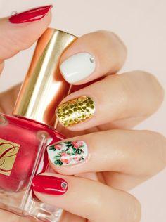 Mix N' Match Floral Nails with Estée Lauder Pure Red