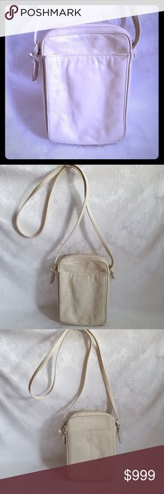 """🌺DISC SHIP🌺Vintage Rolfs Crossbody Organizer Bag Classic Rolfs vintage cream ivory soft leather cross body travel or organizer bag. Bag measures 6 1/2"""" wide x 9"""" tall x 2 1/2 thick. Handle adds 23 1/2""""to height.   Good used condition for age. Missing leather tab on one zipper pull.  A few dirty spots. Smoke free and pet free home.   Check out my other listings - 100's of 👠shoes👠, 👢boots👢 and 👜bags👜. Bundle 2 or more and save money! 💲💵💲 Rolfs Bags Crossbody Bags"""