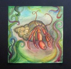 Title: Crab  Created year: 2006  Technique: Pencil and Watercolour