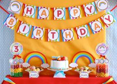 Rainbow Birthday Party Package Personalized MINI Collection Set  - PRINTABLE DIY - via Etsy.