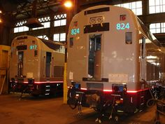 2 Rebuilt Amtrak P40 locomotives #824 and # 817 at the Beech Grove Shops.