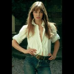 Jane Birken in her sexy-Victorian blouse and beat up jeans