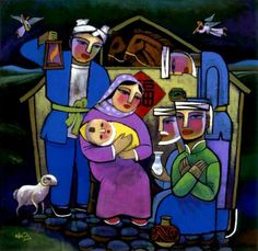 Resultado de imagem para Creation of the World art he qi Christian Images, Christian Art, Religious Images, Religious Art, Images Of Faith, Nativity Painting, Christmas Nativity Scene, Nativity Sets, Christian Paintings