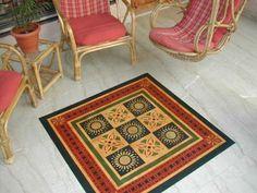 Early American Quilt Floorcloth -  #floorcloths #canvas-rug #floor-cloth #home-decor #historic-floorcloths