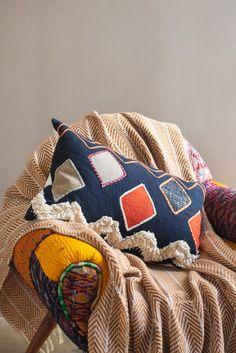 Navy Handloom Cushion Cover                      – Ian Snow Ltd Front Room Furnishings, Soft Furnishings, Cushion Pads, Diamond Design, Health And Safety, Cushions, Snow, Throw Pillows, Embroidery
