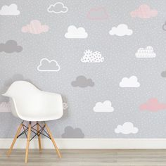 Cloudy Mountain Blue Wall Mural Home Office Decor Nursery Decal Sticker Gift L25