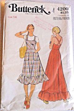 1970's Butterick #4200 Ruffled Fitted Sun Dress Pattern Size 14 Bust 36 Straps  #Butterick