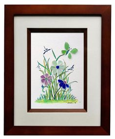 Sea Glass Butterfly, Flowers and Dragonfly's 8x10 Frame by RachelDrakeStudio on Etsy