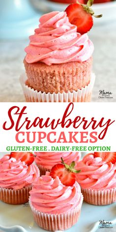 gluten-free strawberry cupcakes with strawberry buttercream frosting., Fresh gluten-free strawberry cupcakes with strawberry buttercream frosting.,Fresh gluten-free strawberry cupcakes with strawberry buttercream frosting. Paleo Dessert, Dessert Sans Gluten, Gluten Free Sweets, Dairy Free Gluten Free Cake, Gluten And Dairy Free Desserts Easy, Gluten Free Icing, Dairy Free Deserts, Gluten Free Party Food, Gluten Free Brands