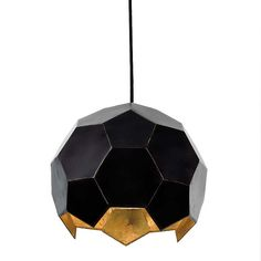 """OUR BESTSELLER! A multi-faceted hexagonal pendant in a black finish with a gold interior. Available in small or large. Also available in gold. - Small Dimensions: 8""""Dia x 7""""H - Large Dimensions: 14""""Di"""