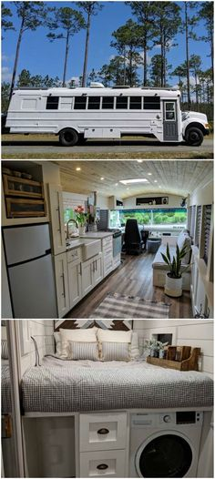 Couple turned an old school bus into a cozy home on wheels Couple turned an old school bus into a cozy home on wheels School Bus Tiny House, Old School Bus, Converted School Bus, Magic School Bus, Bus Living, Tiny House Living, Cozy House, Living Room, Bus Remodel