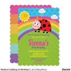 Shop Rainbow Cute Ladybug Birthday Party Girl Invitation created by LollipopParty. Ladybug 1st Birthdays, First Birthdays, Ladybug Birthday Invitations, Ladybug Party, Invitation Ideas, Lady Bug, Kid Names, 1st Birthday Parties, Party Ideas