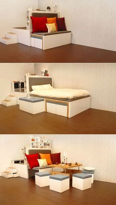 The concept is for a system of space-saving furniture that nests together--hence its name, Matroshka, a/k/a the Russian nesting dolls. At its most compressed the system takes up just four square meters but breaks out into permutations including a bed, desk, bookshelf, couch, coffee table, dinner table, wardrobe, clothing drawers, and seating for twelve.