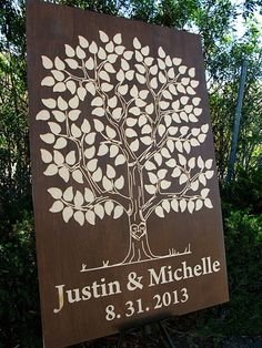 Invitado libro árbol de madera 125 150 firmas por WoodYouSignIt                                                                                                                                                                                 More