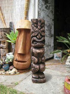 tiki's by Campbell - Tiki Central Tiki Art, Tiki Tiki, Wood Rat, Tiki Pole, Tiki Hawaii, Tiki Statues, Vintage Tiki, Polynesian Culture, Easter Island