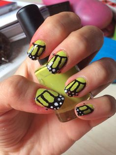 Butterfly green nail art