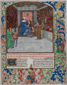 The author presenting his chronicle to Edward IV    Lavishly illuminated in the Netherlands, this chronicle was commissioned by Edward IV, whose arms appear in the lower border. He is shown here with its author, Jean de Wavrin.    Jean de Wavrin, Recueil des chroniques d'Engleterre, vol. 1  Bruges, c. 1475  Royal 15 E. iv, vol. 1, f. 14