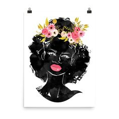 Yellow Floral Crown Afro - Unframed Photo Paper Poster