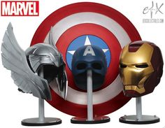 Replica helmets for The Avengers' Thor, Captain America, and Iron Man.