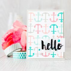 Repeat stamped background using fresh nautical ink colours. Find out more by clicking on the following link: http://limedoodledesign.com/2015/07/repeat-stamped-background/