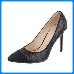 High Heel Damen-Schuhe Plateau Pfennig-/Stilettoabsatz High Heels Ital-Design Pumps Schwarz, Gr 37, Q305-5- - Damen pumps (*Partner-Link)