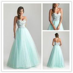 mobile site-Charming sweetheart crystal sequined mint green pink a line prom dresses 2013 long