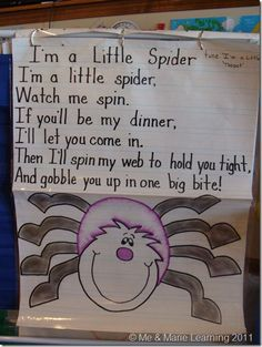 "Halloween finger play for preschool or early childhood. ""I'm a little spider"" Fall Preschool, Preschool Songs, Kids Songs, Preschool Activities, Educational Activities, Halloween Activities, Halloween Themes, Preschool Halloween, October Song"
