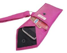 Great Gift! Turn a Men's Necktie into a 2-Pocket Wristlet. Gather an old and wide necktie, scissors, D-ring, needle, thread pins. Hand wash tie,let it dry. Cut tie according to the size you want. Cut a piece for body of the wristlet, a piece for strap and a piece  you will attach D-ring. Press fabric flat and smooth. Iron medium weight interfacing, pin it, and sew. Now, sew pouch together. On the triangular end of strap, leave one inch open. That will be the loop...