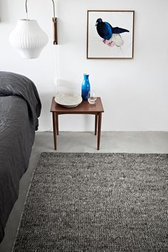 Cush and Nooks: Armadillo&Co | New Rugs. Adds gorgeous texture to the room with the deep charcoal duvet cover.