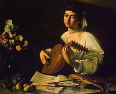 Caravaggio - The Lute Player (Hermitage version) at The State Hermitage Museum of St. Petersburg Russia Exhibit at the National Museum of Prado Madrid Spain