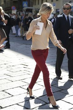 burgundy jeans + blush blouse