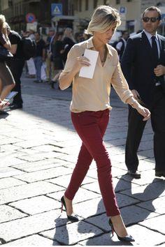 burgundy jeans + tan blouse