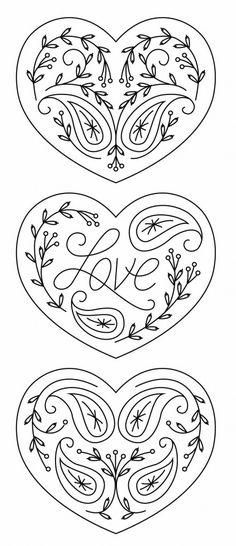Paisley Redwork Hearts