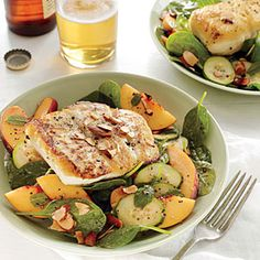 Halibut and Peach Salad with Lemon-Mint Vinaigrette | Cooking Light  #myplate #protein #fruit #veggies